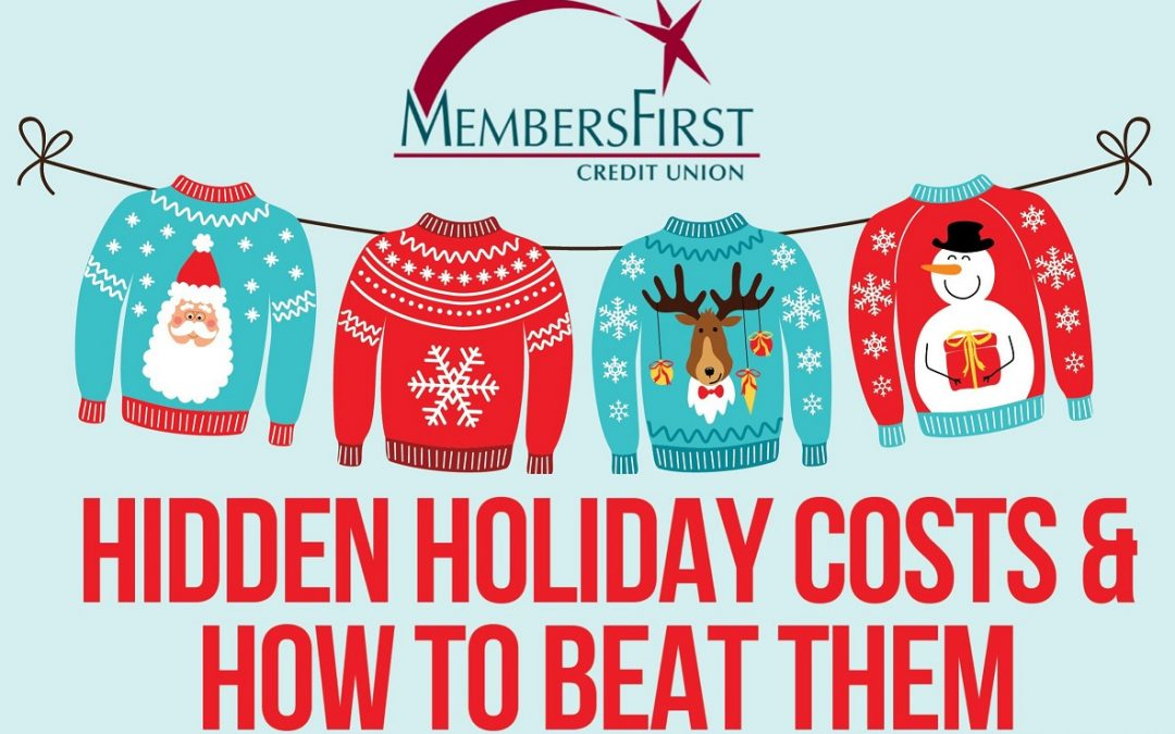 hidden holiday costs and how to beat them title image. Christmas holiday sweaters on a line
