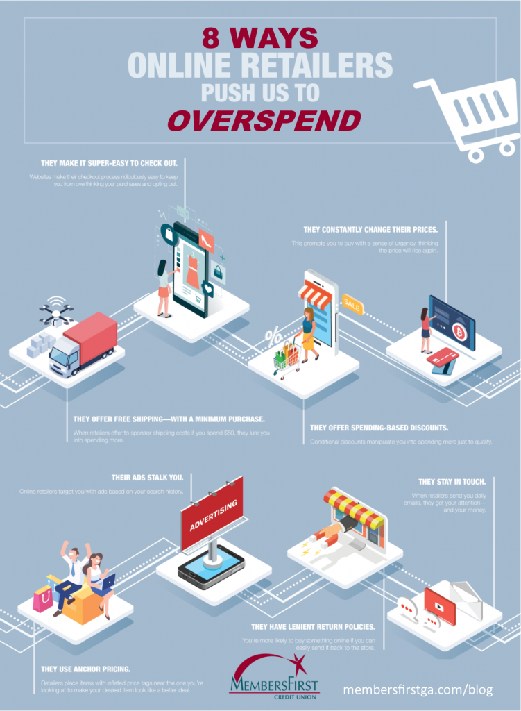 Infographic listing 8 ways online retailers push you to overspend online